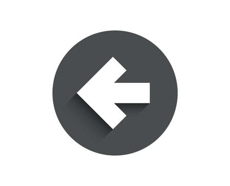 Left arrow simple icon. Direction Arrowhead symbol. Navigation pointer sign. Circle flat button with shadow. Vector Ilustração