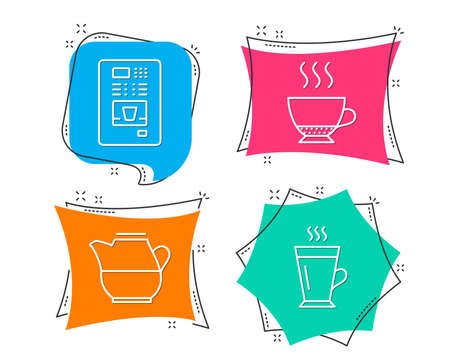Set of Milk jug, Coffee vending and Espresso icons. Latte sign. Fresh drink, Coffee vending machine, Hot drink. Tea glass mug.  Flat geometric colored tags. Vivid banners. Trendy graphic design Stock Illustratie