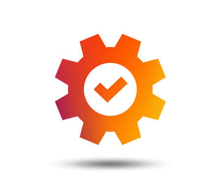 Service icon. Cogwheel with tick sign. Check symbol. Blurred gradient design element. Vivid graphic flat icon. Vector