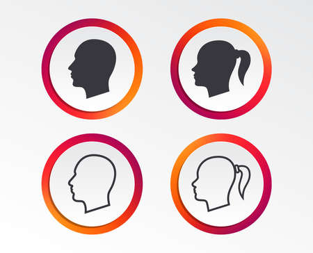 Head icons. Male and female human symbols. Woman with pigtail signs. Infographic design buttons. Circle templates. Vector Ilustração