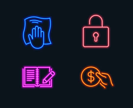 Neon lights. Set of Washing cloth, Lock and Feedback icons. Payment sign. Wipe with a rag, Private locker, Book with pencil. Usd coin.  Glowing graphic designs. Vector