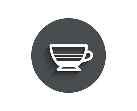 Mocha coffee icon. Hot drink sign. Beverage symbol. Circle flat button with shadow. Vector