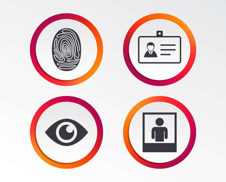 Identity ID card badge icons. Eye and fingerprint symbols. Authentication signs. Photo frame with human person. Infographic design buttons. Circle templates. Vector