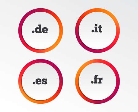 Top-level internet domain icons. De, It, Es and Fr symbols. Unique national DNS names. Infographic design buttons. Circle templates. Vector