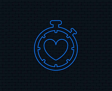 Neon light. Heart Timer sign icon. Stopwatch symbol. Heartbeat palpitation. Glowing graphic design.