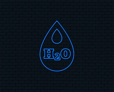 Neon light. H2O Water drop sign icon. Tear symbol. Glowing graphic design.
