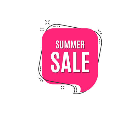 Summer Sale. Special offer price sign. Advertising Discounts symbol. Speech bubble tag. Trendy graphic design element. Vector