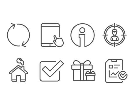 Set of Refresh, Tablet pc and Headhunting icons. Surprise package, Checkbox and Report checklist signs. Rotation, Touchscreen gadget, Person in target. Present boxes, Approved tick, Sales growth file