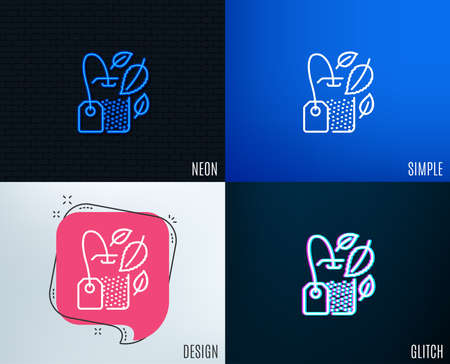 Glitch, Neon effect. Mint Tea bag line icon. Fresh herbal beverage sign. Mentha leaves symbol. Trendy flat geometric designs. Vector Banco de Imagens - 97120830