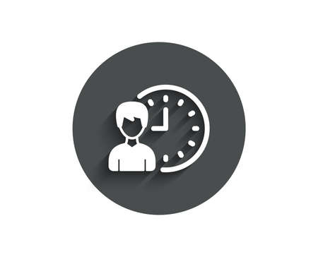 Business project deadline simple icon. Working hours or Time management sign. Circle flat button with shadow. Vector