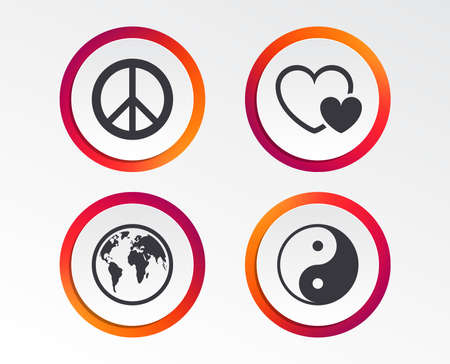 World globe icon. Ying yang sign. Hearts love sign. Peace hope. Harmony and balance symbol. Infographic design buttons. Circle templates. Vector 矢量图像