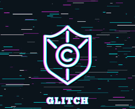 Glitch effect. Copyright protection line icon. Copywriting sign. Shield symbol. Background with colored lines. Vector Illustration