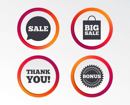 Sale speech bubble icon. Thank you symbol. Bonus star circle sign. Big sale shopping bag. Infographic design buttons. Circle templates. Vector
