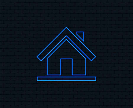 Neon light. Home sign icon. Main page button. Navigation symbol. Glowing graphic design. 일러스트