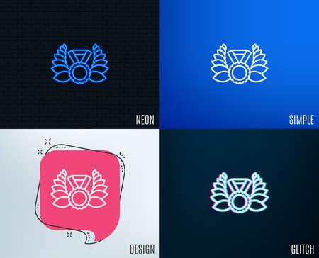 Glitch, Neon effect. Laurel wreath line icon. Winner medal symbol. Prize award sign. Trendy flat geometric designs. Vector