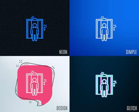 Glitch, Neon effect. Lift line icon. Elevator sign. Transportation between floors symbol. Trendy flat geometric designs. Vector
