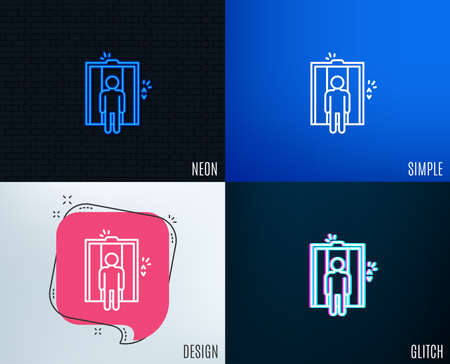 Glitch, Neon effect. Lift line icon. Elevator sign. Transportation between floors symbol. Trendy flat geometric designs. Vector