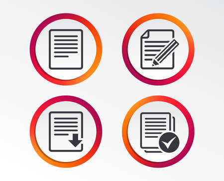 File document icons. Download file symbol. Edit content with pencil sign. Select file with checkbox. Infographic design buttons.