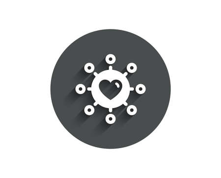 Love dating simple icon. Relationships network sign. Valentines day or Heart symbol. Circle flat button with shadow.