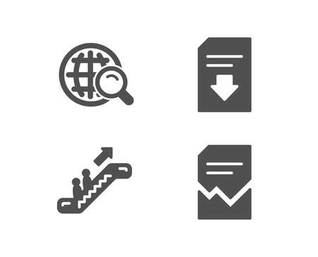 Set of Internet search, Escalator and Download file icons. Corrupted file sign. Web finder, Elevator, Load document. Damaged document. Quality design elements. Classic style.