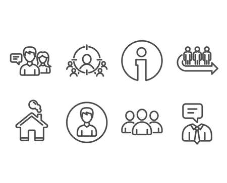 Set of Business targeting, Queue and Group icons. Person, People talking and Support service signs. People and target aim, Group of users, Edit profile. Contact service, Human talking. Çizim