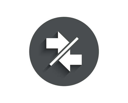 Synchronize arrows simple icon. Communication Arrowheads symbol. Navigation pointer sign. Circle flat button with shadow.
