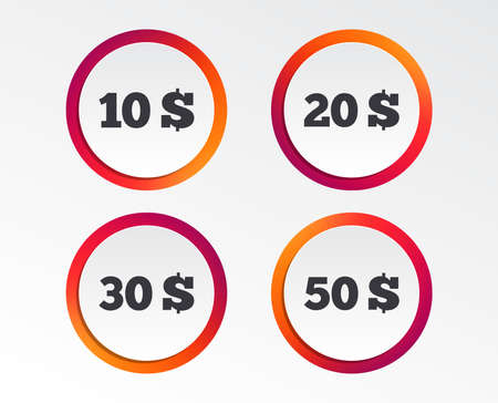 Money in Dollars icons. 10, 20, 30 and 50 USD symbols. Money signs Infographic design buttons.