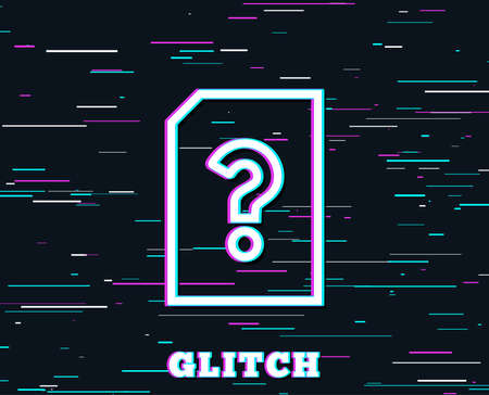 Glitch effect. Unknown Document line icon. File with Question mark sign. Untitled Paper page concept symbol. Background with colored lines.