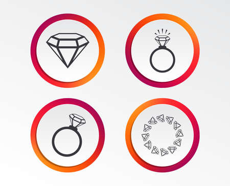 Rings icons. Jewelry with shine diamond signs. Wedding or engagement symbols. Infographic design buttons.