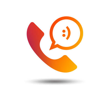 Phone sign icon. Support symbol. Call center. Speech bubble with smile. Blurred gradient design element. Vivid graphic flat icon.