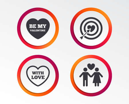 Valentine day love icons. Target aim with heart and arrow symbol. Couple lovers sign. Infographic design buttons.
