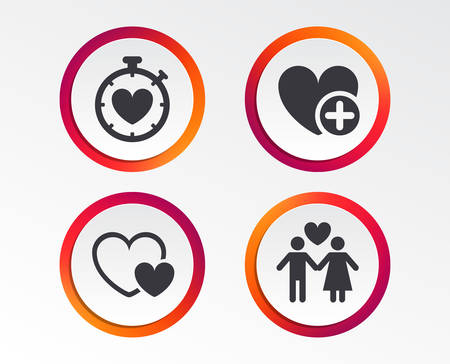 Valentine day love icons. Love heart timer symbol. Couple lovers sign. Add new love relationship. Infographic design buttons. Иллюстрация