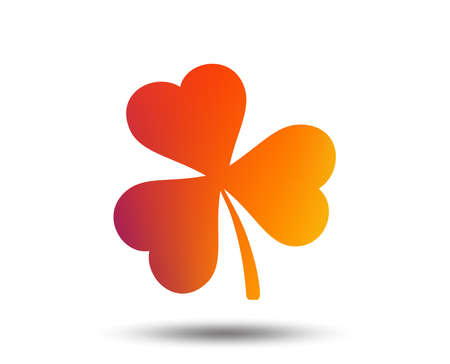 Clover with three leaves sign icon. Trifoliate clover. Saint Patrick trefoil symbol. Blurred gradient design element. Vivid graphic flat icon. Vector
