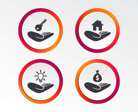 Helping hands icons. Financial money savings insurance symbol. Home house or real estate and lamp, key signs. Infographic design buttons. Circle templates. Vector