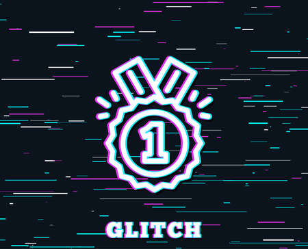 Glitch effect. Reward Medal line icon. Winner achievement or Award symbol. Glory or Honor sign. Background with colored lines. Vector