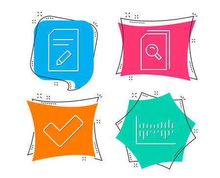 Set of Edit document, Tick and Search files icons. Column diagram sign. Page with pencil, Confirm check, Magnifying glass. Sale statistics.  Flat geometric colored tags. Vivid banners. Vector