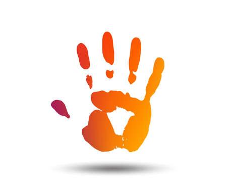 Pictogram van een hand afdrukken teken. Stop symbool. Wazig verloop ontwerpelement. Levendig grafisch plat pictogram. Vector