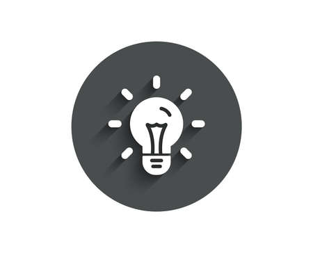 Idea simple icon. Light bulb sign. Copywriting symbol. Circle flat button with shadow. Vector