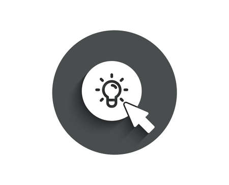 Idea lamp simple icon. Mouse cursor sign. Light bulb symbol. Circle flat button with shadow. Vector
