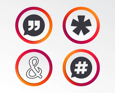 Quote, asterisk footnote icons. Hashtag social media and ampersand symbols. Programming logical operator AND sign. Speech bubble. Infographic design buttons. Circle templates. Vector Illustration