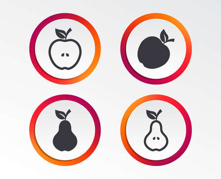 Fruits with leaf icons. Apple and Pear with seeds signs. Natural food symbol. Infographic design buttons. Circle templates. Vector