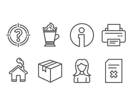 Set of Parcel, Latte coffee and Woman icons. Printer, Headhunter and Delete file signs. Shipping box, Hot drink with whipped cream, Girl profile. Vector