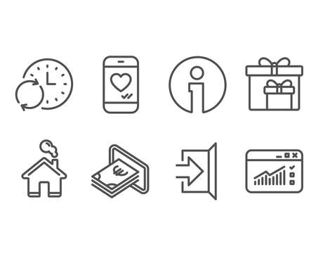 Set of Cash, Update time and Delivery boxes icons. Exit, Love chat and Web traffic signs. Atm payment, Refresh clock, Birthday gifts. Escape, Smartphone, Website window. Vector Çizim