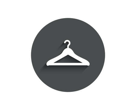 Cloakroom simple icon. Hanger wardrobe sign. Clothes service symbol. Circle flat button with shadow. Vector Ilustracja