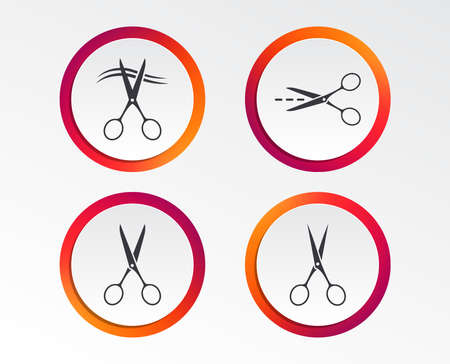 Scissors icons. Hairdresser or barbershop symbol. Scissors cut hair. Cut dash dotted line. Tailor symbol. Infographic design buttons. Circle templates. Vector