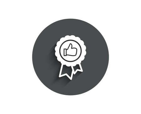 Positive feedback simple icon. Award medal symbol. Reward sign. Circle flat button with shadow. Vector Banque d'images - 96848031
