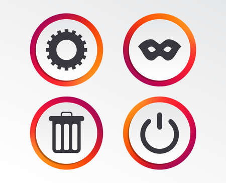 Anonymous mask and cogwheel gear icons. Recycle bin delete and power sign symbols. Infographic design buttons. Circle templates. Vector