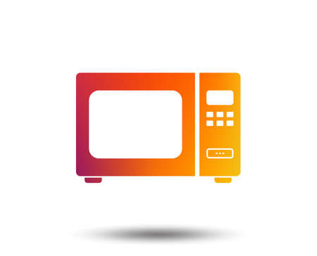 Microwave oven sign icon. Kitchen electric stove symbol. Blurred gradient design element. Vivid graphic flat icon. Vector Vectores
