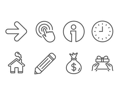 Set of Pencil, Click and Clock icons. Money bag, Next and Give present signs. Edit data, Cursor pointer, Time or watch. Usd currency, Forward, Receive a gift.  Information and Home design elements Illustration