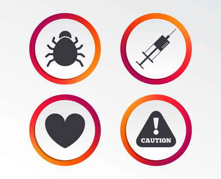 Bug and vaccine syringe injection icons. Heart and caution with exclamation sign symbols. Infographic design buttons. Circle templates. Vector Illustration